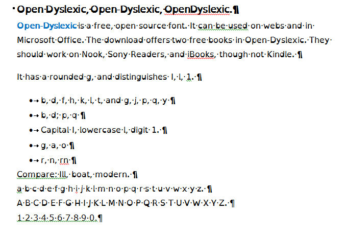 Typefaces For Dyslexia