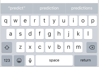 Predicted text about the ipad's onscreen keyboard.